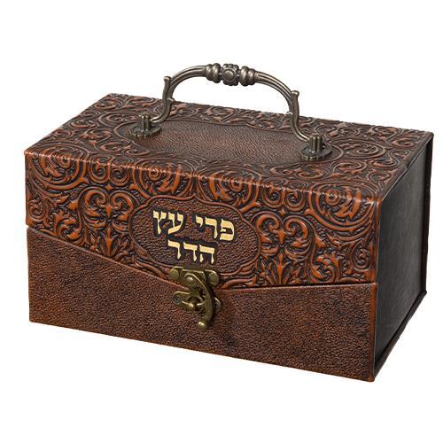"""קופסא מהודרת לאתרוג דמוי עור """"עיטורים"""" 11x20x12 ס"""""""