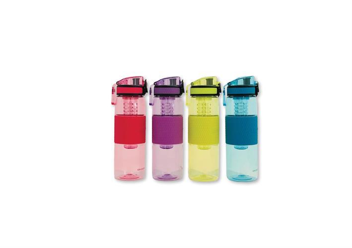 """בקבוק עם מיכל קטן לפירות – מגוון צבעים לבחירה (530 מ""""ג)"""