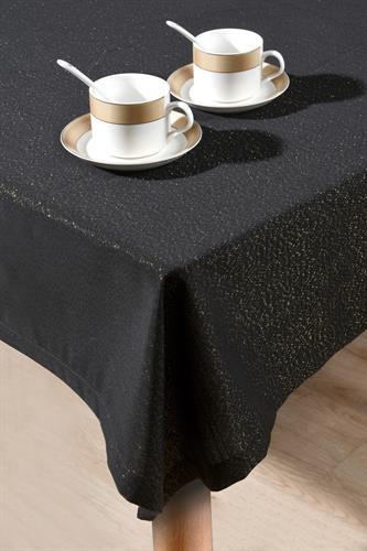 מפת שולחן יוקרתית מנצנצת גלוסי - שחור זהב