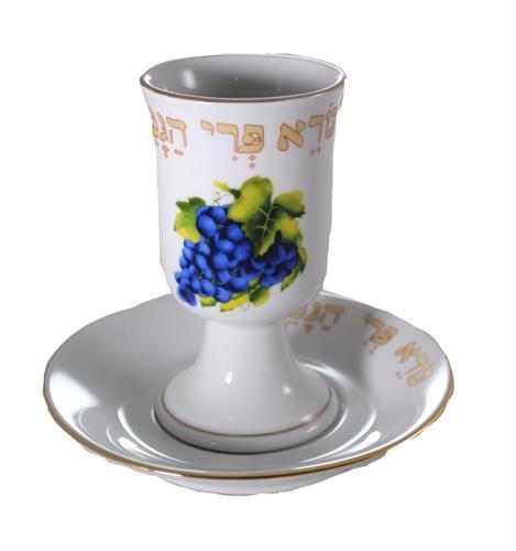 """כוס קידוש פורצלן """"ענבים"""""""