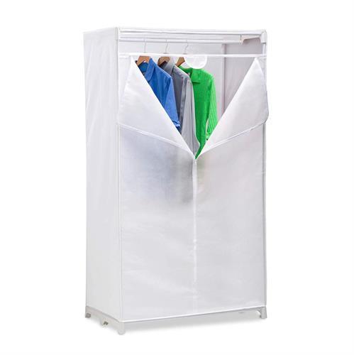ארון אחסון יחיד רחב לבן עם כיסוי בד -דגם WRD-01271.