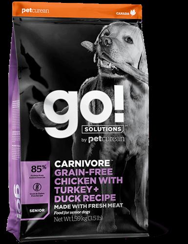 """815260000734 מזון יבש לכלבים מבוגרים בטעם עוף, הודו וסלמון 10 ק""""ג GO!"""