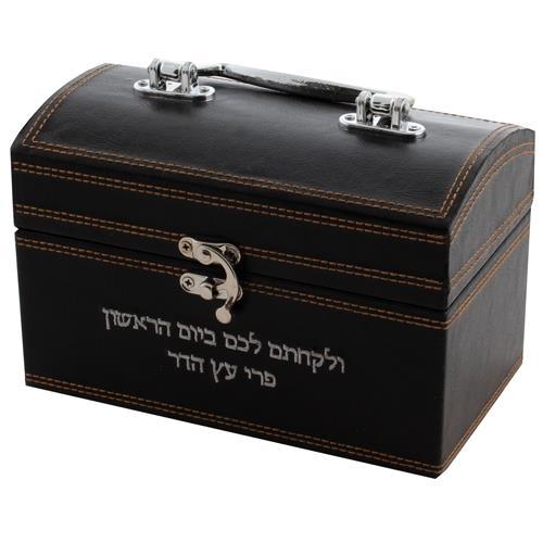 """קופסא מהודרת לאתרוג דמוי עור עם פלקטה, ידית ומנעול מתכת -חום כהה 13X19X11 ס""""מ"""