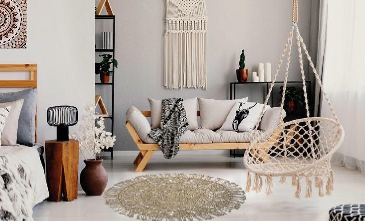 """שטיח דגם - """"פארק"""" שטיח כותנה משולב פרנזים"""