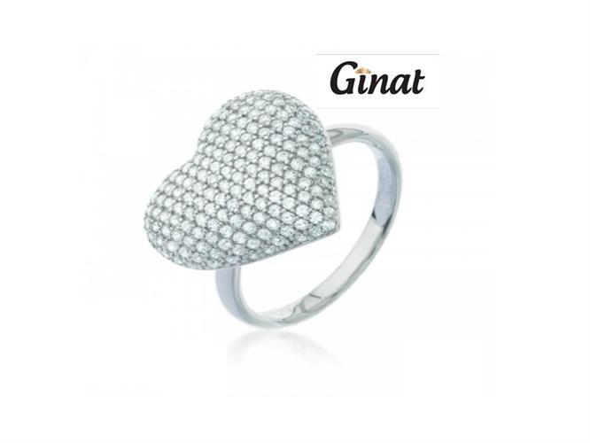 טבעת לב גדול בשיבוץ לבן