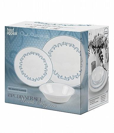 סט צלחות זכוכית מעוצבות WREATH AZZURRO מבית פוד אפיל (Food Appeak), 18 חלקים