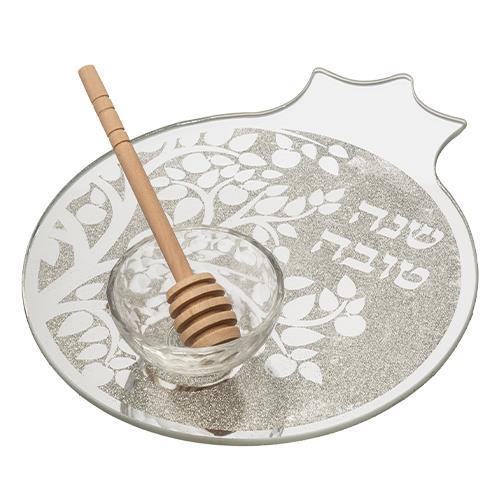 """צלחת זכוכית מהודרת בצורת רימון לתפוח בדבש 19x23 ס"""""""