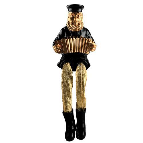 """חסיד יושב מפוליריזין - שחור עם רגלי בד זהב מנגן באקורדיון 23 ס""""מ"""