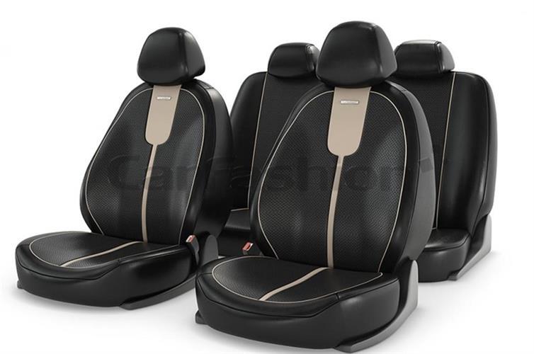 ריפודים נאים לרכב 11060 ריפוד כיסוי הגנה נגד לכלוך ושמירה על מושב הרכב צבע שחור עם פס בז במרכז GALS