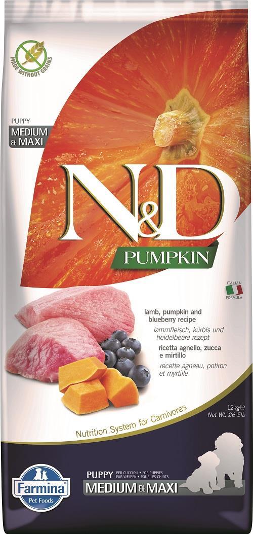 "N&D PUMPKIN – מזון לגורי כלבים– כבש, דלעת ואוכמניות 12 ק""ג"