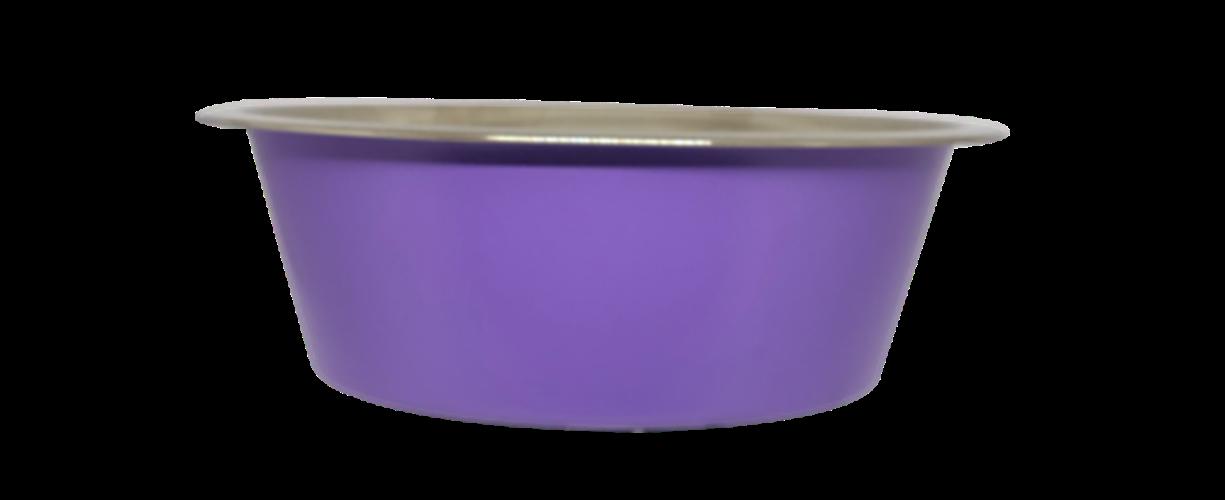 קערת מזון נירוסטה סגול עם גומי בתחתית למניעת החלקה 0.90 ליטר