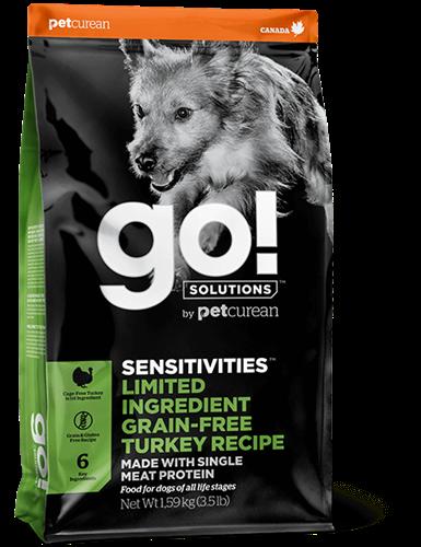"""815260001212 מזון יבש לכלבים עם רגישויות למזון הודו 10 ק""""ג GO!"""