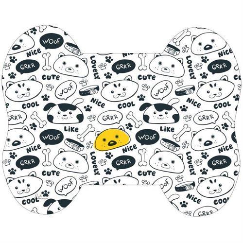 שטיחון מעוצב שחור לבן פרצופים לקערת שתיה / מזון