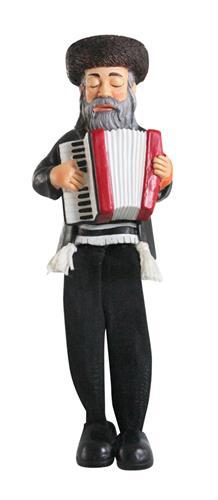 """חסיד יושב מפוליריזן - שחור עם רגלי בד שחורות מנגן באקורדיון 18 ס""""מ"""