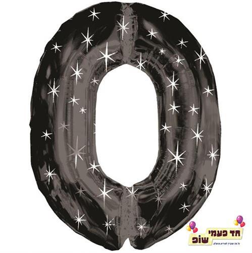בלון 34 אינץ' 0 שחור כוכבים (ללא הליום)