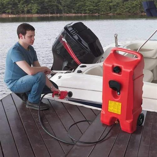 מיכל דלק נייד 53 ליטר עם גלגלים ואקדח מילוי - האקדח הינו משאבה