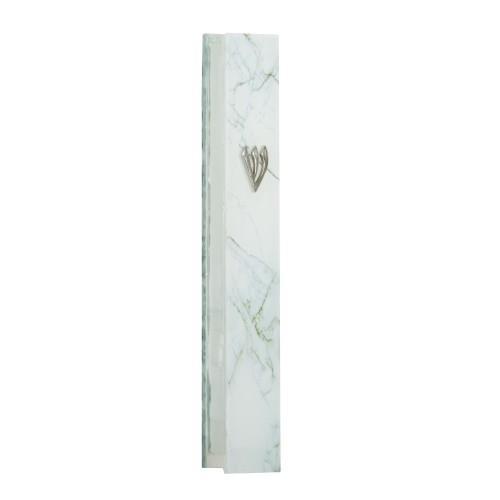 שש0111 מזוזה זכוכית 12 סמ בגוון לבן אפור