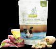 ברווז, לבבות עוף, לקט ירקות, שמן פשתן ועשבי תיבול