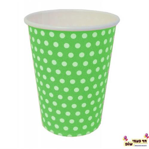 כוסות חמות ירוק נקודות