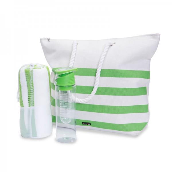 ערכת תיק חוף עם מגבת ובקבוק