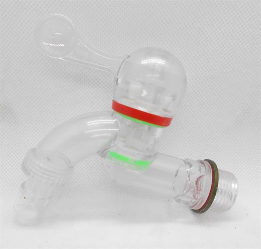 ברז פלסטיק שקוף  למיכלי מים או  גן  חצי צול ''2\1