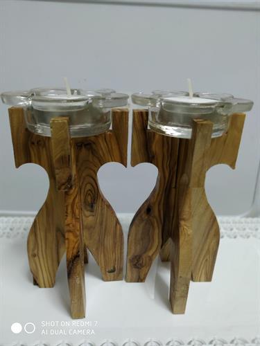 זוג פמוטי אהבה מעץ זית
