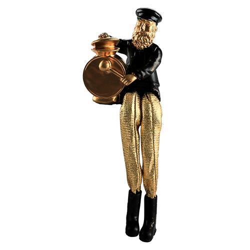 """חסיד יושב מפוליריזין - שחור עם רגלי בד זהב מנגן בתופים 18 ס""""מ"""
