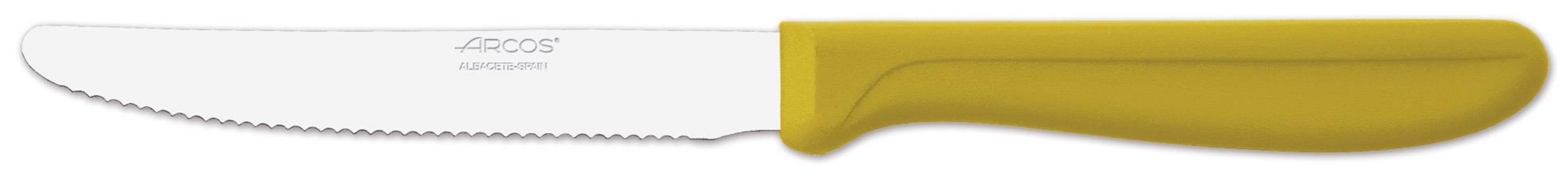 """סכין ירקות משוננת 11 ס""""מ יד' פלסטיק צהובה ARCOS"""