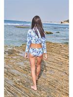 blue flowers בגד ים שרוול ארוך
