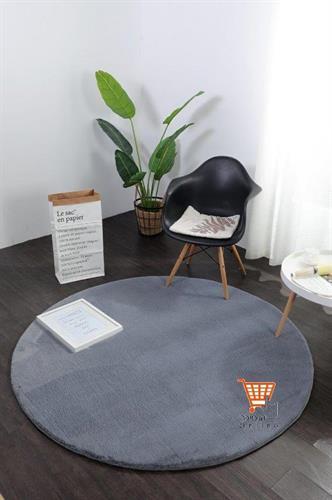 שטיח פרווה אפור כהה - עגול