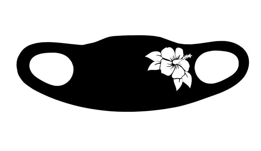 מסיכה פרחים שחור לבן