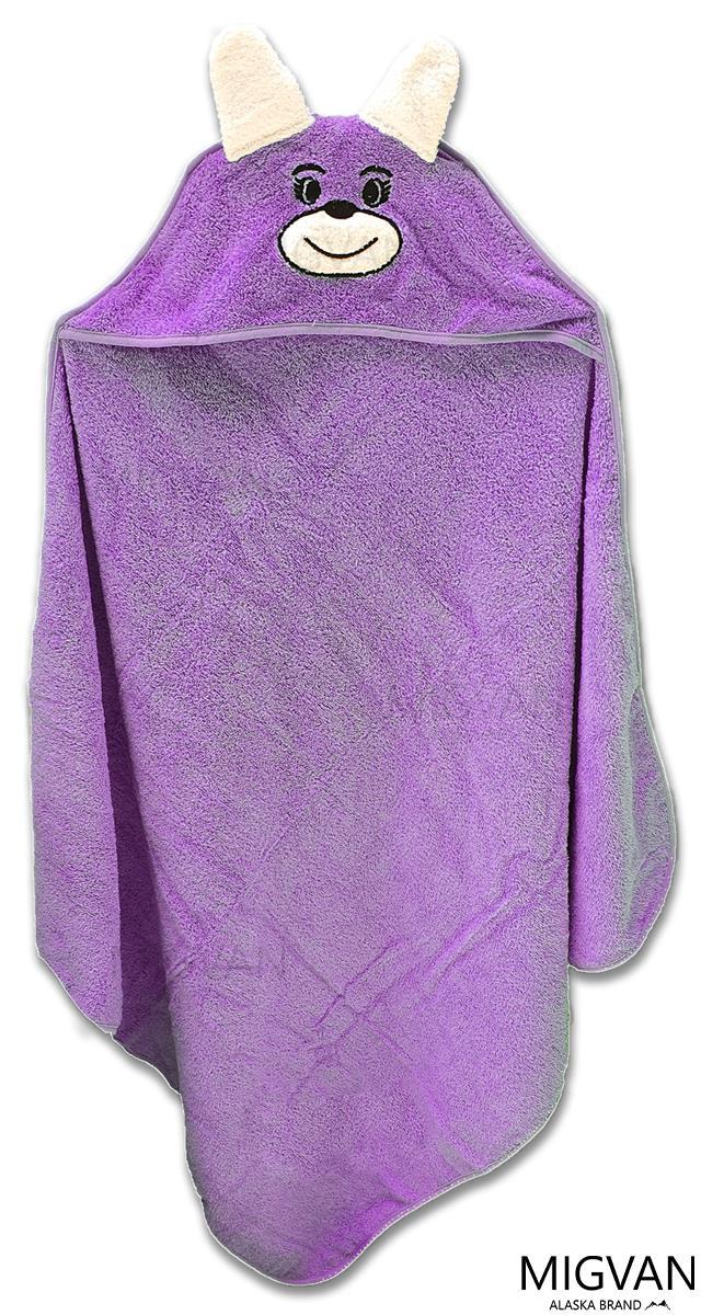 מגבת קפוצ'ון לתינוק עם רקמת ארנבון צבע סגול
