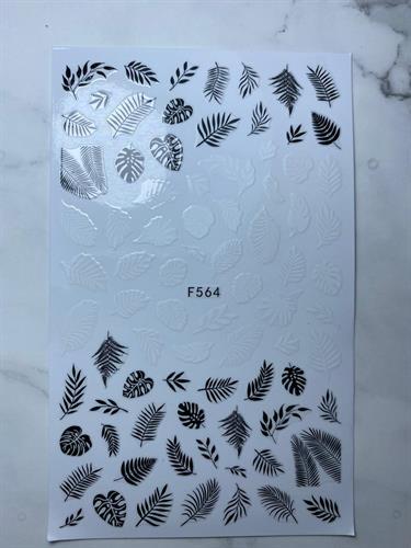 מדבקות 3D לציפורניים  עלים שחור לבן