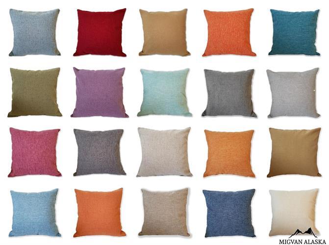 כריות נוי במבחר צבעים חלקים (מצויין לשילוב עם דוגמא)