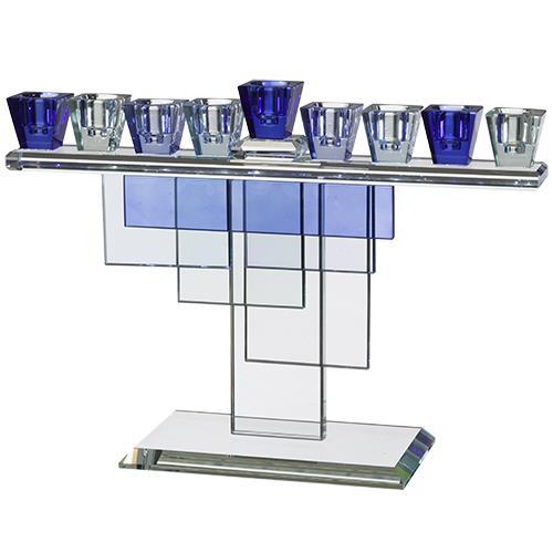"""חנוכיית קריסטל מפוארת בגווני כחול 20X28 ס""""מ"""