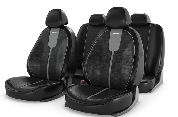 ריפודים נאים לרכב 11063 ריפוד כיסוי הגנה נגד לכלוך ושמירה על מושב הרכב צבע שחור עם פס אפור במרכז