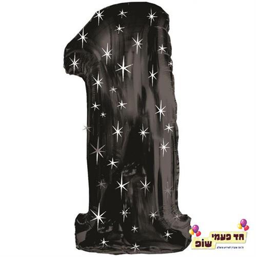 בלון 34 אינץ' 1 שחור כוכבים (ללא הליום)