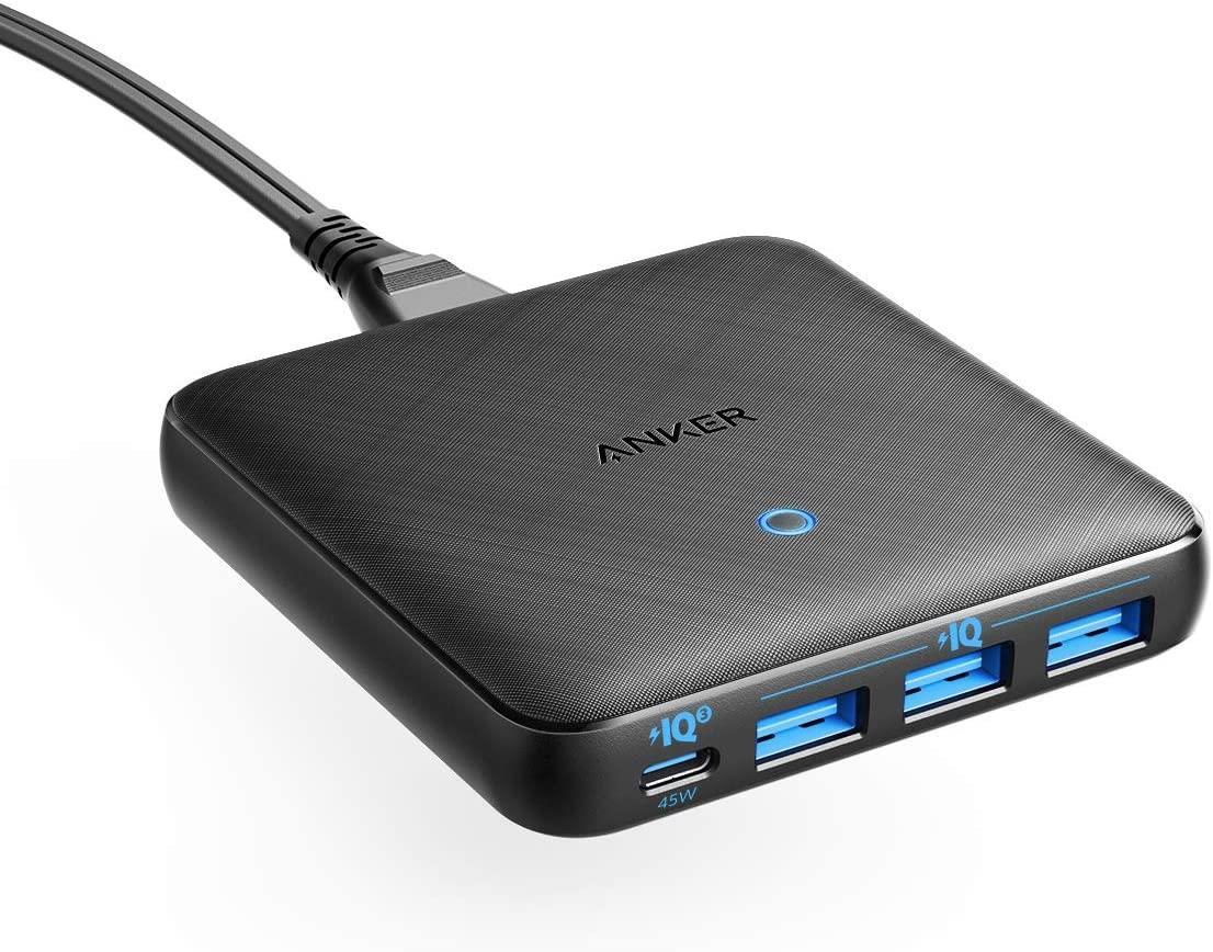 מטען 4 יציאות Anker PowerPort 65WSlim 3USB+USB-C