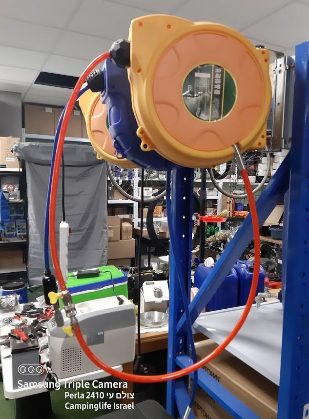 גלגלת אוויר קפיצית  תוף 15 מטר כולל חיבורים מהירים עם מסילה להתקנה ושליפה מהירה