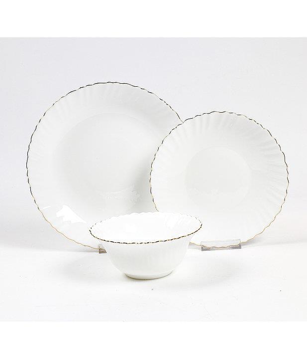 סט צלחות זכוכית מעוצבות GOLDEN WAVE מבית פוד אפיל (Food Appeak), 18 חלקים