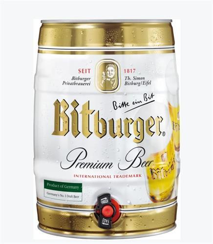 חבית בירה ביתית –Bitburger- בנפח 5 ליטר עם ברז נשלף ונוח לשימוש  – (כשר)