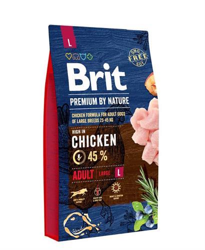 """8594031449362 מזון יבש לכלבים בוגרים מגזע גדול עוף 15 ק""""ג Brit"""