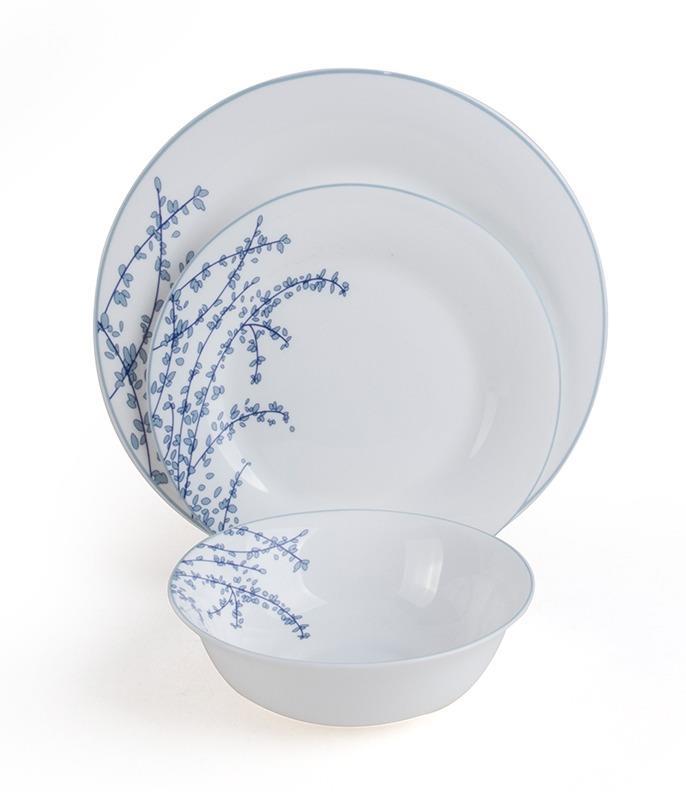 סט צלחות מעוטר מזכוכית אנטי צ'יפ 18 חלקים BLUE JARDIN מבית פוד אפיל (Food Appeal), 18 חלקים