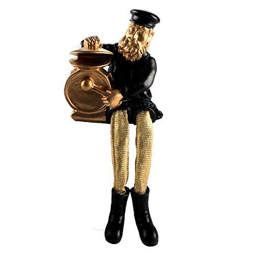 """חסיד יושב מפוליריזן - שחור עם רגלי בד זהב מנגן בתופים 23 ס""""מ"""