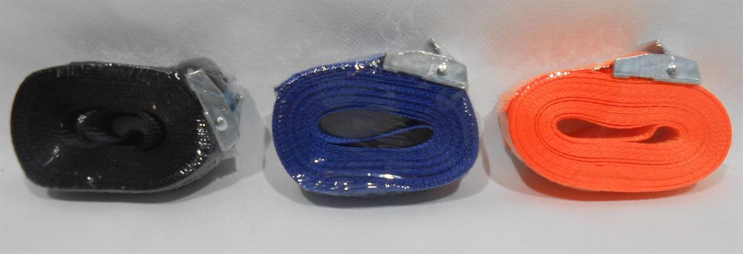 רצועת קשירה והידוק  כחול אוטומטי לחצן קפיצי 5 מטר  רוחב 2.5 סמ' כושר העמסה 250 ק'ג