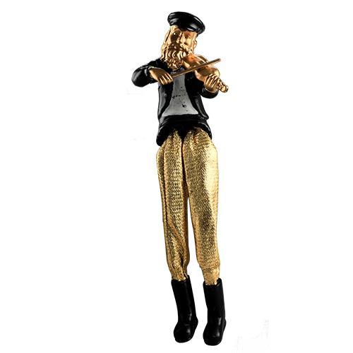 """חסיד יושב מפוליריזין - שחור עם רגלי בד זהב מנגן בכינור 18 ס""""מ"""