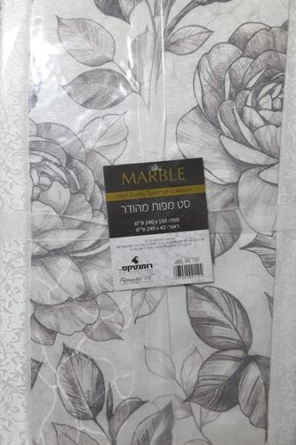 סט מפת שולחן +ראנר - רומנטקס דגם Marbel לבן