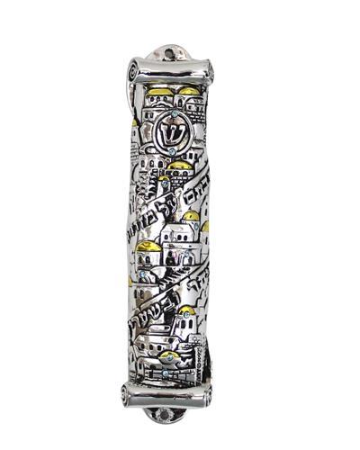"""מזוזה מוכספת מפולירייזן 12 ס""""מ בצורת קלף בעיצוב """"י"""