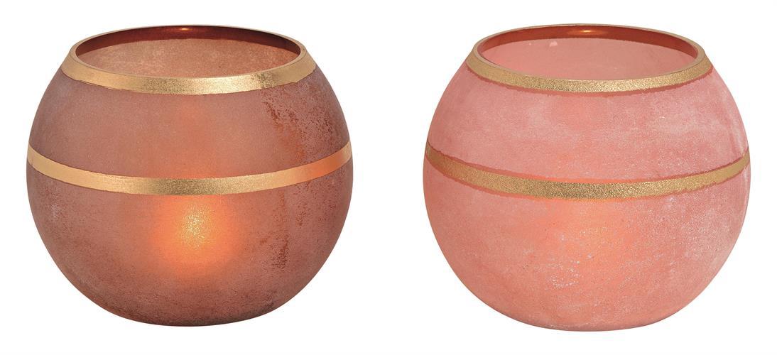 כלי זכוכית חלבית ורוד/חום בשילוב זהב