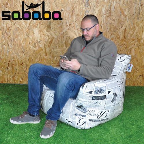 סבבה פוף כורסא גדולה לכל גיל מעוצבת בסגנון עיתון מבד דמוי עור נעים ואיכותי
